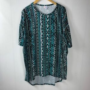 LuLaRoe Teal Blue Black Medium Irma Tunic (m4)